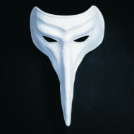 Maschera veneziana naso lungo di colore bianco