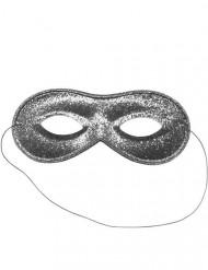 maschera veneziana argentata con brillantini per adulti
