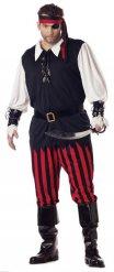 Costume da pirata nero rosso e bianco per uomo