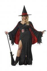 Costume da strega rosso e nero in taglia grande per donna