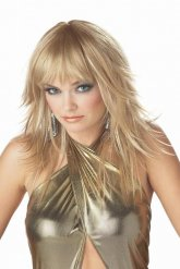 Parrucca bionda lunga da popstar per donna