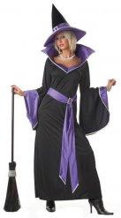 Costume da strega elegante in nero e viola per donna
