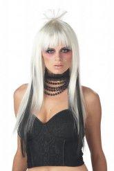 Parrucca lunga bianca e nera per donna