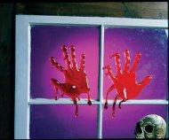 Decorazione per finestra 2 mani insanguinate halloween