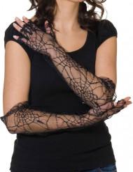 Guanti con ragnatela neri per donna