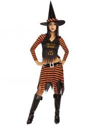 Costume da strega nero e arancione per donna