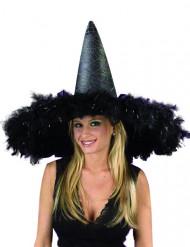 Cappello da strega gigante nero con piume