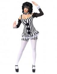 Costume da Pierrot nero e bianco per donna