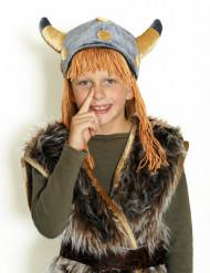 Casco da vichingo in velluto per bambino