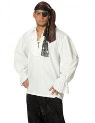 Camicia da pirata bianca con colletto per uomo