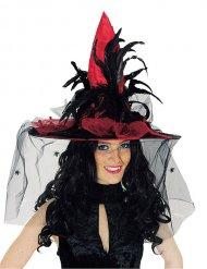 Cappello da strega satinato rosso con piume per adulto