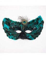 Maschera turchese con piume per adulto
