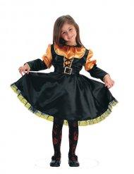 Costume strega arancione e nera per bambina