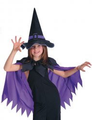 Mantello viola con cappello da strega per bambina