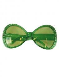 Occhiali verdi disco con strass donna