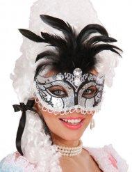 Maschera veneziana con brillantini e piume per donna