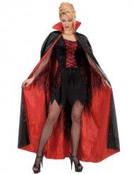 Mantello satinato rosso e nero adulto halloween