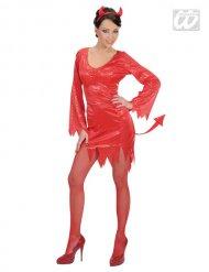 Costume diavolessa in rosso con paillettes per donna halloween