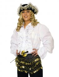 Camicia da pirata bianco con fru fru per adulto