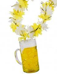 Collana di fiori con pinta di birra