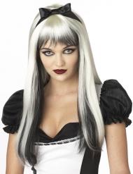 Parrucca lunga bianca e nera per adulto