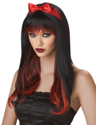 Parruca nera e rossa per donna