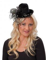 Mini cappello con piume nere