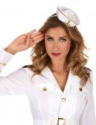 Cerchietto con mini cappello bianco da marinaia per donna