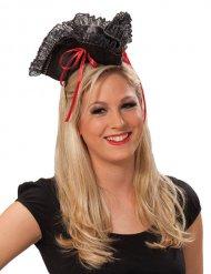 Mini cappello da pirata nero e rosso
