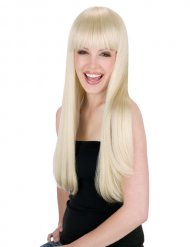 Parrucca bionda capelli lunghi con frangia donna