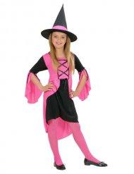 Costume da strega rosa per bambina Halloween