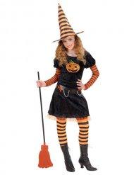 Costume da strega arancione e nero per bambina