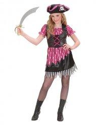 Costume da pirata per bambina rosa e nero con teschi