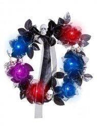 Corona di fiori e teschi colorati