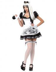 Costume da alice sexy bianca e nera per donna halloween