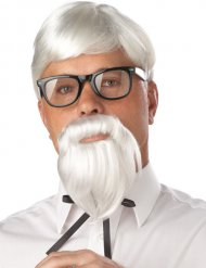 Parrucca da professore con barba bianca