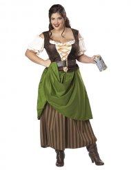 Costume da locandiera medievale con gonnellone per donna
