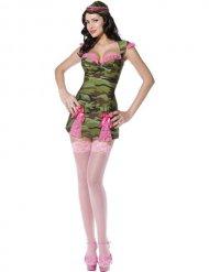 Costume militare verde e rosa sexy donna