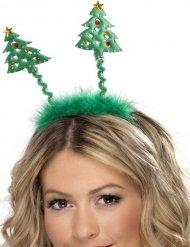 Cerchietto con alberi di Natale e finto pelo per adulto