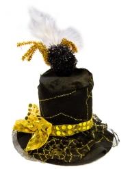 Cappello a cilindro con ragnatela nero e oro per adulto