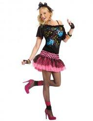 Costume anni 80 per donna nero e rosa