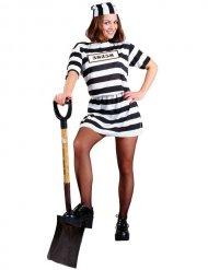 Costume da prigioniera sexy a righe nere e bianche