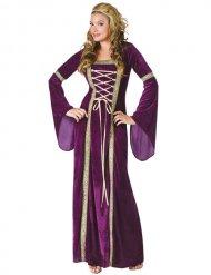 Costume da principessa medievale viola e dorato per donna