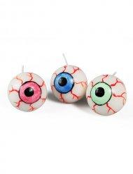 3 candele occhio multicolore Halloween 3 cm