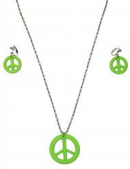 Collana e orecchini hippie verde per adulto