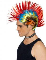 Parrucca punk multicolore con cresta rossa