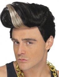 Parrucca corta con ciocca chiara popstar per uomo