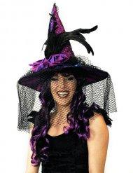 Cappello da strega satinato con piume per adulto halloween