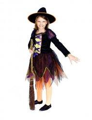 Costume da strega per bambina nera e arancione