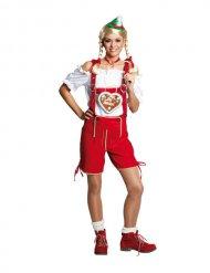 Costume salopette bavarese rossa per donna